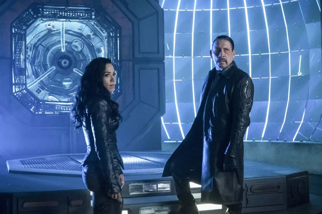 "The Flash -- ""Elongated Journey Into Night"" -- Image Number: FLA404b_0096b.jpg -- Pictured (L-R): Jessica Camacho as Gypsy and Danny Trejo as Breacher -- Photo: Katie Yu/The CW -- © 2017 The CW Network, LLC. All rights reserved."