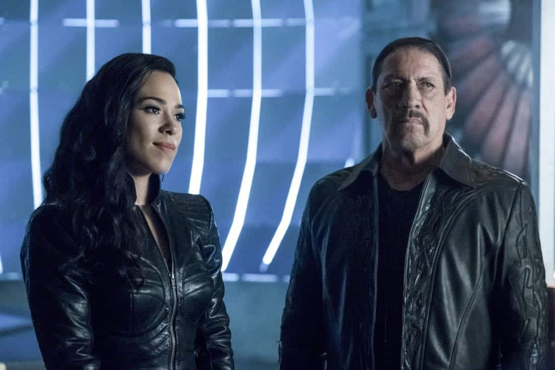 "The Flash -- ""Elongated Journey Into Night"" -- Image Number: FLA404b_0175b.jpg -- Pictured (L-R): Jessica Camacho as Gypsy and Danny Trejo as Breacher -- Photo: Katie Yu/The CW -- © 2017 The CW Network, LLC. All rights reserved."