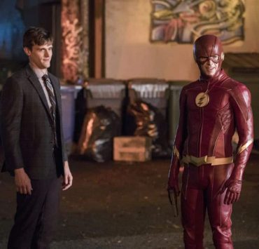 "The Flash -- ""Elongated Journey Into Night"" -- Image Number: FLA404a_0019b.jpg -- Pictured (L-R): Hartley Sawyer as Dibney and Grant Gustin as The Flash -- Photo: Jack Rowand/The CW -- © 2017 The CW Network, LLC. All rights reserved."