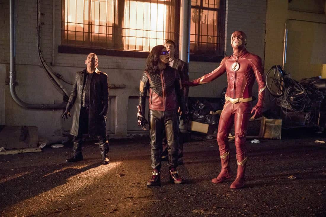 "The Flash -- ""Elongated Journey Into Night"" -- Image Number: FLA404a_0363b.jpg -- Pictured (L-R): Danny Trejo as Breacher, Carlos Valdes as Vibe, Hartley Sawyer as Dibney and Grant Gustin as The Flash -- Photo: Jack Rowand/The CW -- © 2017 The CW Network, LLC. All rights reserved."