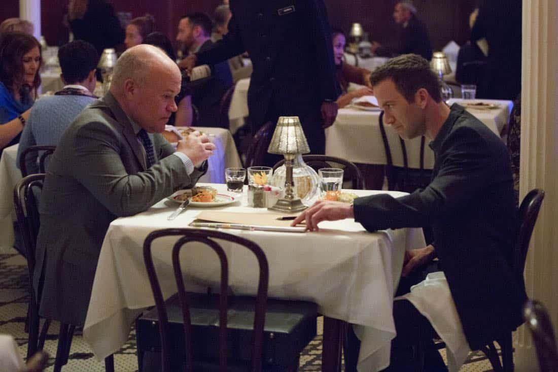 """""""Acceptable Loss"""" -- The murder of a petty officer leads Pride and his team to a mysterious woman who is targeting men with high security clearance. Also, Lasalle's father, Beau (Michael Angelo Pniewski), arrives in town to discuss the family business, on NCIS: NEW ORLEANS, Tuesday, Oct. 31 (10:00-11:00 PM, ET/PT) on the CBS Television Network. Pictured L-R: Michael Angelo Pniewski as Beau Lasalle and Lucas Black as Special Agent Christopher LaSalle Photo: Sam Lothridge/CBS ©2017 CBS Broadcasting, Inc. All Rights Reserved"""
