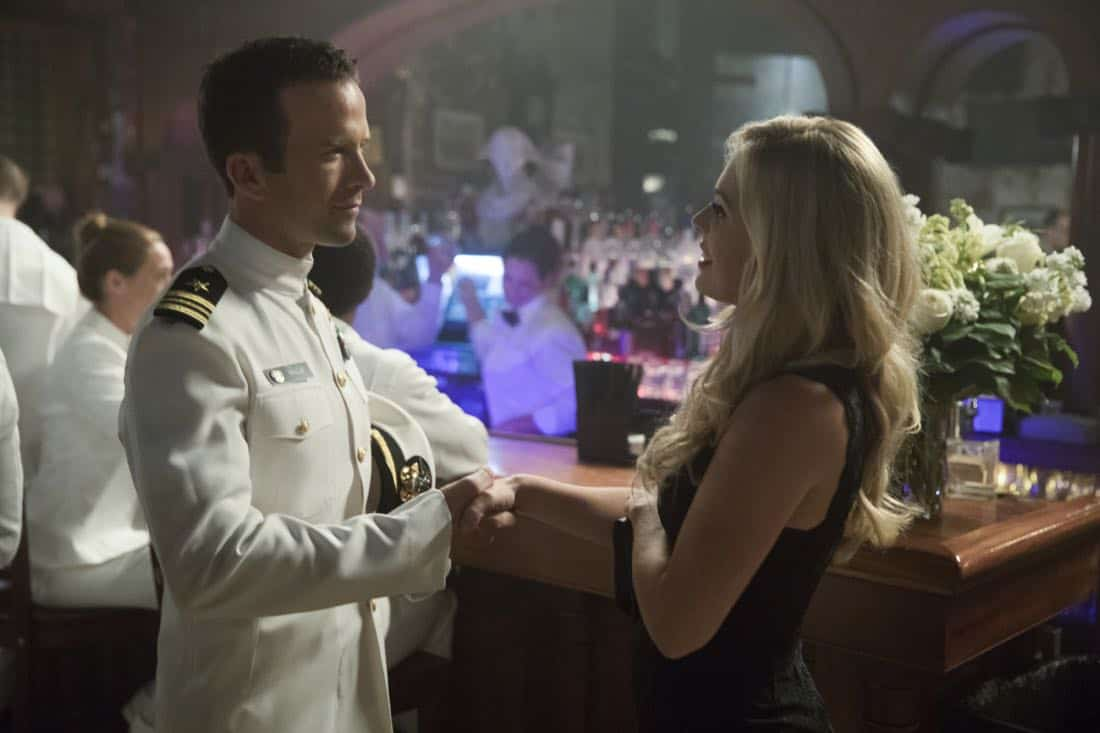 """""""Acceptable Loss"""" -- The murder of a petty officer leads Pride and his team to a mysterious woman who is targeting men with high security clearance. Also, Lasalle's father, Beau (Michael Angelo Pniewski), arrives in town to discuss the family business, on NCIS: NEW ORLEANS, Tuesday, Oct. 31 (10:00-11:00 PM, ET/PT) on the CBS Television Network. Pictured L-R: Lucas Black as Special Agent Christopher LaSalle and Natalie Hall as Chloe Miles Photo: Sam Lothridge/CBS ©2017 CBS Broadcasting, Inc. All Rights Reserved"""
