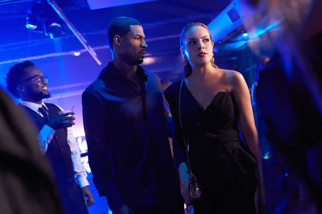 "Dynasty -- ""Private as a Circus"" -- Image Number: DYN104a_0059b.jpg -- Pictured (L-R): Robert Christopher Riley as Culhane and Elizabeth Gillies as Fallon -- Photo: Bob Mahoney/The CW -- © 2017 The CW Network, LLC. All Rights Reserved."