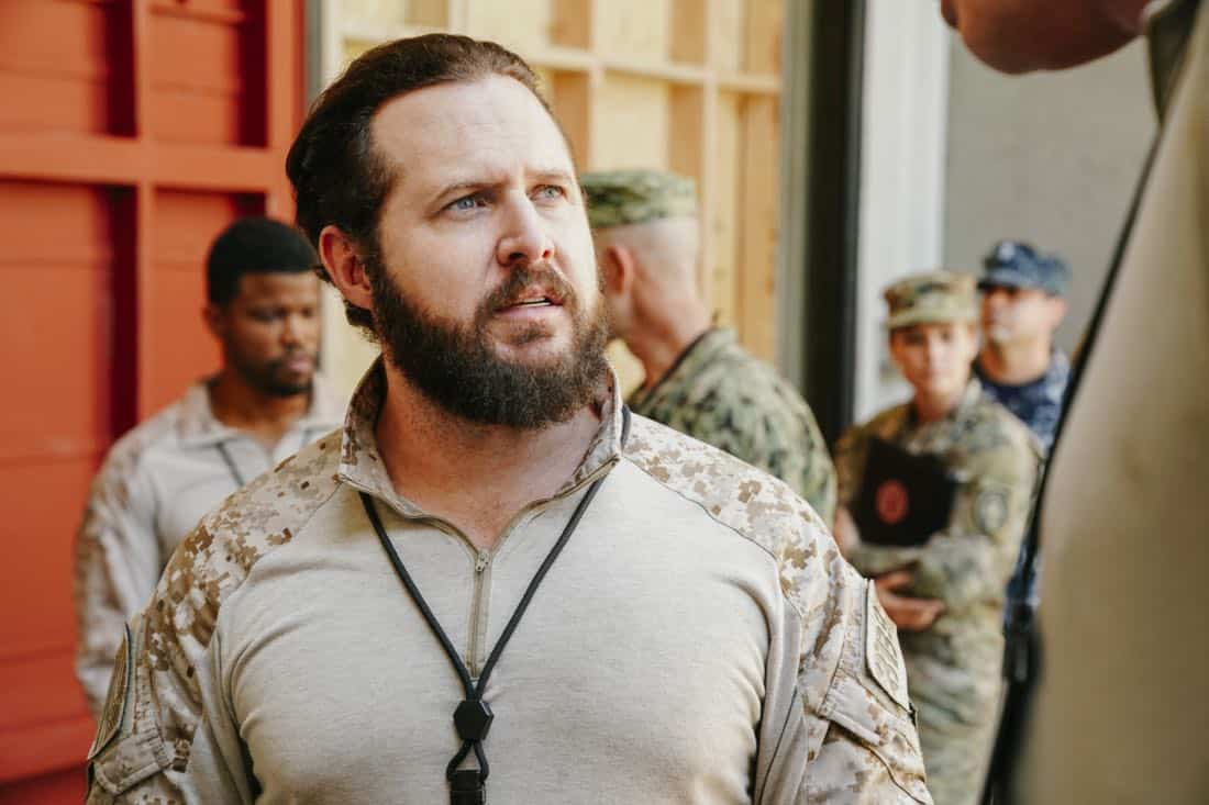 """""""The Spinning Wheel"""" -- The SEAL Team must work with Jason's longtime rival, Beau Fuller (Sharif Atkins), and his team to plan and perfect a raid under the watchful eye of top military brass. Also, Clay delivers solemn news to a teammate's next of kin, on SEAL TEAM, Wednesday, Nov. 1 (9:00-10:00 PM, ET/PT) on the CBS Television Network. Pictured: AJ Buckley as Sonny Quinn. Photo: Erik Voake/CBS ©2017 CBS Broadcasting, Inc. All Rights Reserved"""