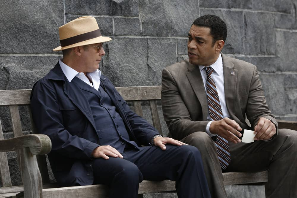 "THE BLACKLIST -- ""The Travel Agency"" Episode 506 -- Pictured: (l-r) James Spader as Raymond ""Red"" Reddington, Harry Lennix as Harold Cooper -- (Photo by: Will Hart/NBC)"
