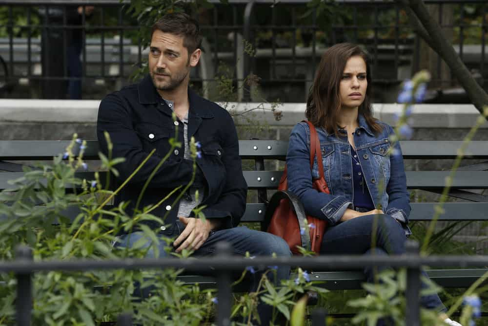 "THE BLACKLIST -- ""The Travel Agency"" Episode 506 -- Pictured: (l-r) Ryan Eggold as Tom Keen, Ana Nogueira as Lena Mercer -- (Photo by: Will Hart/NBC)"