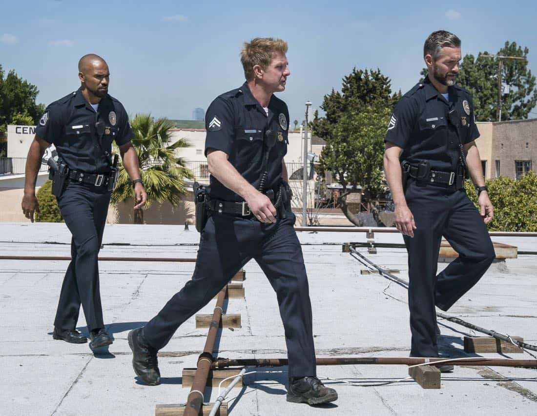"""Pilot"" -- A locally born SWAT sergeant, former Marine Daniel ""Hondo"" Harrelson (Shemar Moore), is newly tasked to run a specialized tactical unit that is the last stop in law enforcement in Los Angeles, on the series premiere of S.W.A.T., Thursday, Nov. 2 (10:00-11:00, ET/PT) on the CBS Television Network. Shemar Moore, Stephanie Sigman, Alex Russell, Jay Harrington, Lina Esco, Kenny Johnson, Peter Onorati and David Lim star in the police drama inspired by the television series and feature film. Pictured left to right: Shemar Moore as Daniel ""Hondo"" Harrelson, Kenny Johnson as Dominique Luca, and Jay Harrington as David ""Deacon"" Kay.      Photo: Bill Inoshita/CBS  ©2016 CBS Broadcasting, Inc. All Rights Reserved"