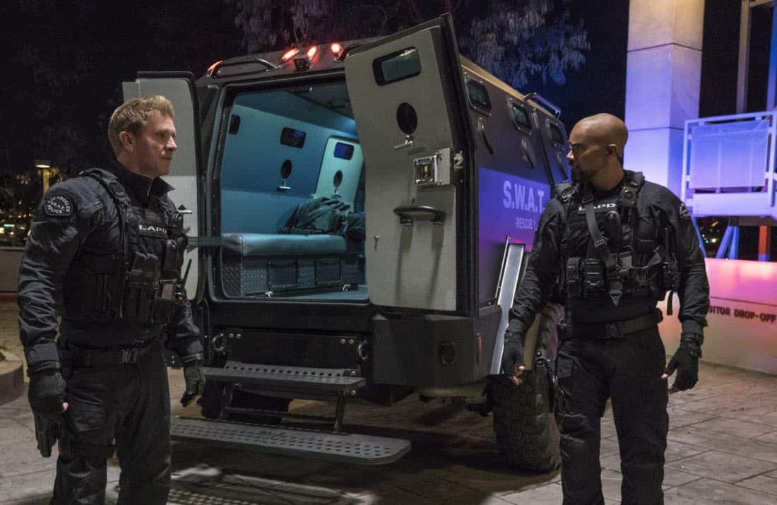 """Pilot"" -- A locally born SWAT sergeant, former Marine Daniel ""Hondo"" Harrelson (Shemar Moore), is newly tasked to run a specialized tactical unit that is the last stop in law enforcement in Los Angeles, on the series premiere of S.W.A.T., Thursday, Nov. 2 (10:00-11:00, ET/PT) on the CBS Television Network. Shemar Moore, Stephanie Sigman, Alex Russell, Jay Harrington, Lina Esco, Kenny Johnson, Peter Onorati and David Lim star in the police drama inspired by the television series and feature film. Pictured left to right: Kenny Johnson as Dominique Luca and Shemar Moore as Daniel ""Hondo"" Harrelson   Photo: Bill Inoshita/CBS ©2017 CBS Broadcasting, Inc. All Rights Reserved"