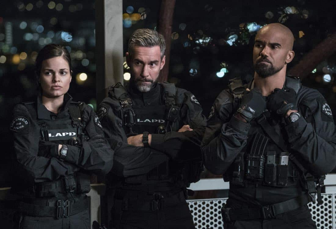"""Pilot"" -- A locally born SWAT sergeant, former Marine Daniel ""Hondo"" Harrelson (Shemar Moore), is newly tasked to run a specialized tactical unit that is the last stop in law enforcement in Los Angeles, on the series premiere of S.W.A.T., Thursday, Nov. 2 (10:00-11:00, ET/PT) on the CBS Television Network. Shemar Moore, Stephanie Sigman, Alex Russell, Jay Harrington, Lina Esco, Kenny Johnson, Peter Onorati and David Lim star in the police drama inspired by the television series and feature film. Pictured left to right: Lina Esco as Christina ""Chris"" Alonso, Jay Harrington as David ""Deacon"" Kay, and Shemar Moore as Daniel ""Hondo"" Harrelson.     Photo: Bill Inoshita/CBS ©2017 CBS Broadcasting, Inc. All Rights Reserved"