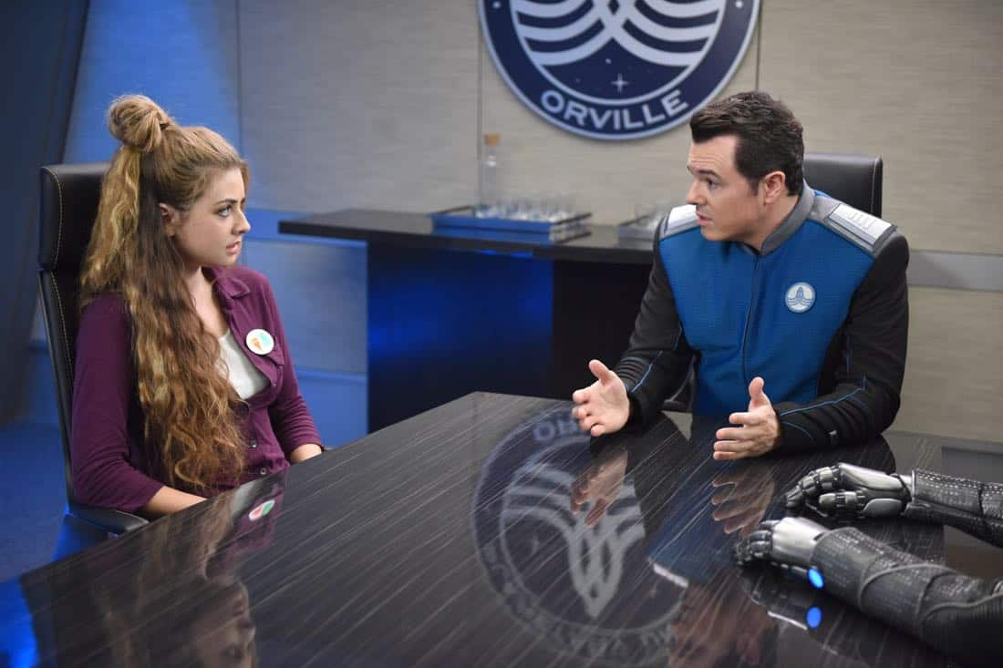 "THE ORVILLE:  L-R:  Guest star Giorgia Whigham and Seth MacFarlane in the ""Majority Rule"" episode of THE ORVILLE airing Thursday, Oct. 26 (9:01-10:00 PM ET/PT) on FOX.  ©2017 Fox Broadcasting Co. Cr:  Michael Becker/FOX"