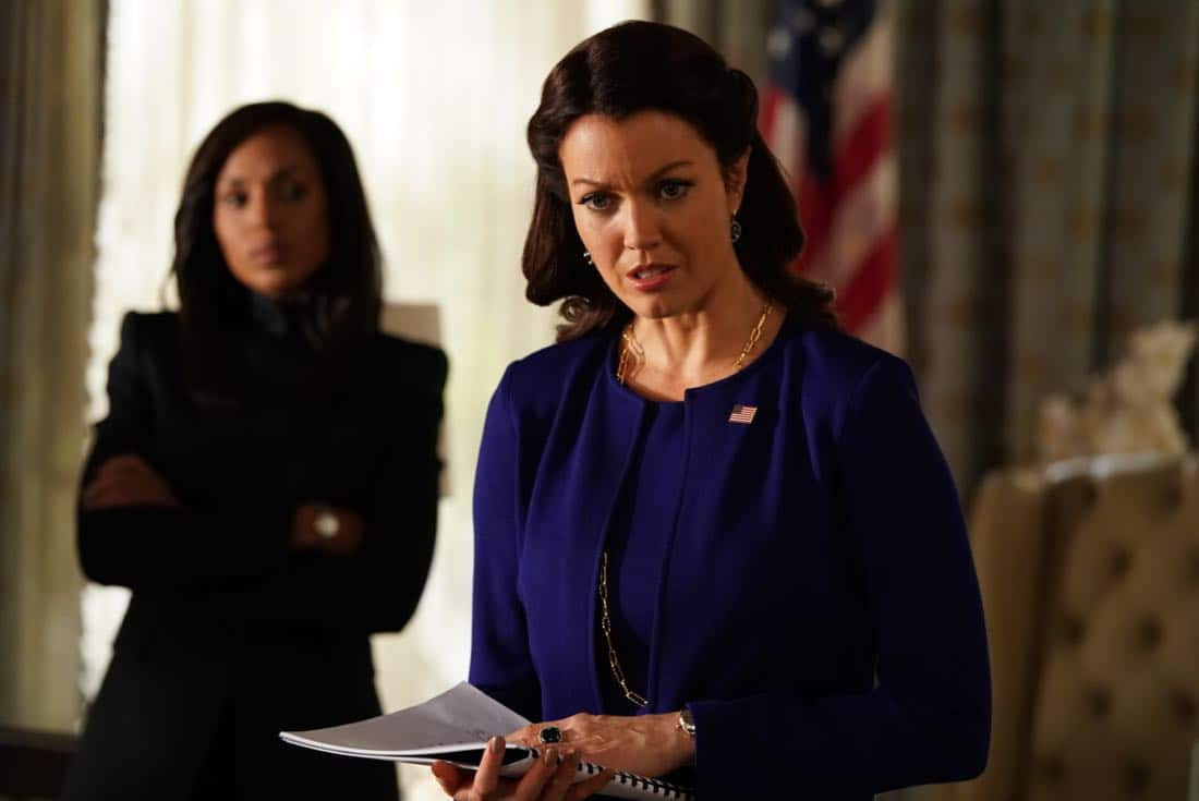 "SCANDAL - ""Adventures in Babysitting"" - Olivia and Mellie assert their power like never before; meanwhile, Cyrus is working on congressional approval to declare war in Bashran, and QPA is keeping close watch on President Rashad's niece, on ""Scandal,"" airing THURSDAY, NOV. 2 (9:00-10:00 p.m. EDT), on The ABC Television Network. (ABC/Mitch Haaseth) BELLAMY YOUNG"