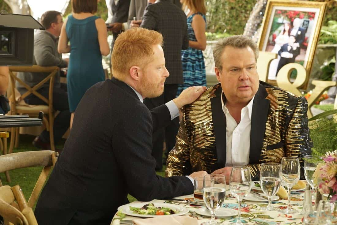 """MODERN FAMILY - """"Ten Years Later"""" - Claire is determined to make up for her less-than-joyful mood at Jay and Gloria's wedding by throwing their tenth-anniversary party. As part of the festivities, Phil is going to perform a magic trick featuring Gloria appearing out of thin air in her wedding dress; that is if Gloria can still get into it! - on """"Modern Family,"""" WEDNESDAY, NOV. 1 (9:00-9:31 p.m. EDT), on The ABC Television Network. (ABC/Ron Tom) JESSE TYLER FERGUSON, ERIC STONESTREET"""
