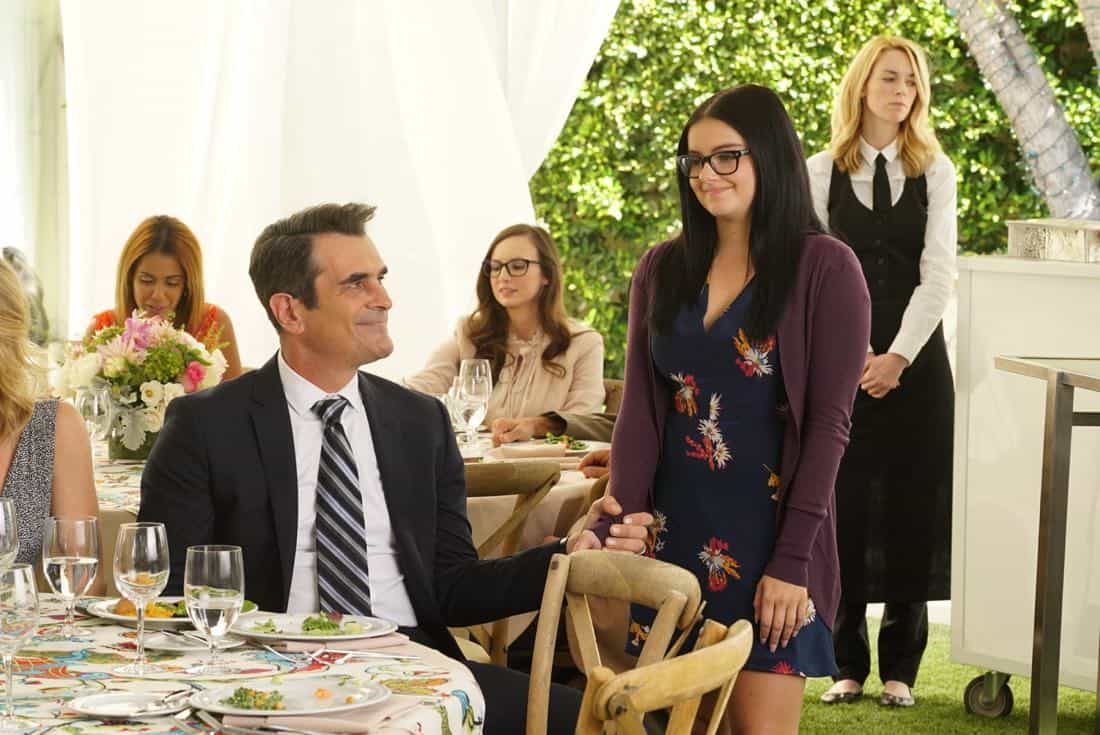 """MODERN FAMILY - """"Ten Years Later"""" - Claire is determined to make up for her less-than-joyful mood at Jay and Gloria's wedding by throwing their tenth-anniversary party. As part of the festivities, Phil is going to perform a magic trick featuring Gloria appearing out of thin air in her wedding dress; that is if Gloria can still get into it! - on """"Modern Family,"""" WEDNESDAY, NOV. 1 (9:00-9:31 p.m. EDT), on The ABC Television Network. (ABC/Ron Tom) TY BURRELL, ARIEL WINTER"""