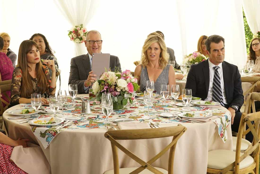 """MODERN FAMILY - """"Ten Years Later"""" - Claire is determined to make up for her less-than-joyful mood at Jay and Gloria's wedding by throwing their tenth-anniversary party. As part of the festivities, Phil is going to perform a magic trick featuring Gloria appearing out of thin air in her wedding dress; that is if Gloria can still get into it! - on """"Modern Family,"""" WEDNESDAY, NOV. 1 (9:00-9:31 p.m. EDT), on The ABC Television Network. (ABC/Ron Tom) SOFIA VERGARA, ED O'NEILL, JULIE BOWEN, TY BURRELL"""