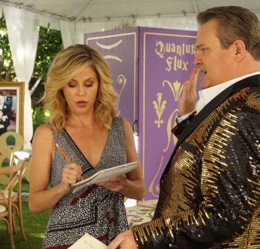 "MODERN FAMILY - ""Ten Years Later"" - Claire is determined to make up for her less-than-joyful mood at Jay and Gloria's wedding by throwing their tenth-anniversary party. As part of the festivities, Phil is going to perform a magic trick featuring Gloria appearing out of thin air in her wedding dress; that is if Gloria can still get into it! - on ""Modern Family,"" WEDNESDAY, NOV. 1 (9:00-9:31 p.m. EDT), on The ABC Television Network. (ABC/Ron Tom) JULIE BOWEN, ERIC STONESTREET"