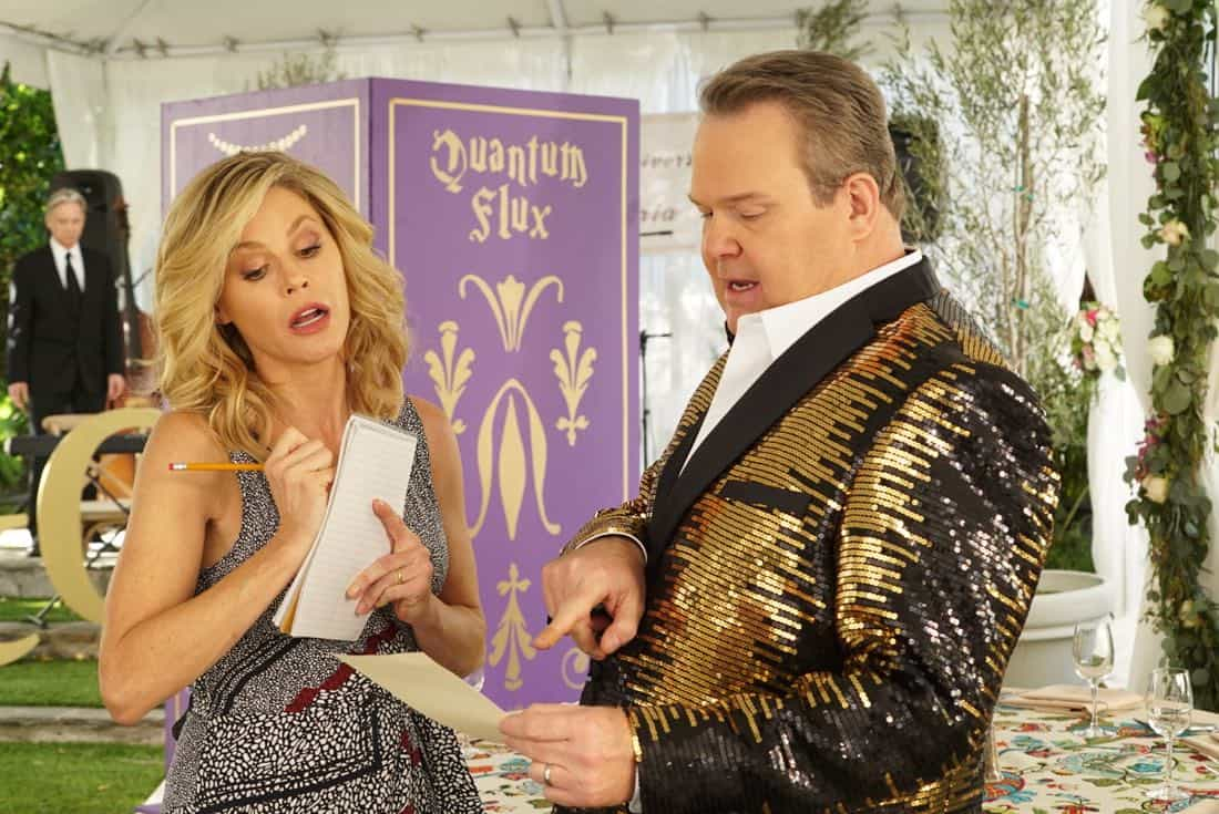 """MODERN FAMILY - """"Ten Years Later"""" - Claire is determined to make up for her less-than-joyful mood at Jay and Gloria's wedding by throwing their tenth-anniversary party. As part of the festivities, Phil is going to perform a magic trick featuring Gloria appearing out of thin air in her wedding dress; that is if Gloria can still get into it! - on """"Modern Family,"""" WEDNESDAY, NOV. 1 (9:00-9:31 p.m. EDT), on The ABC Television Network. (ABC/Ron Tom) JULIE BOWEN, ERIC STONESTREET"""