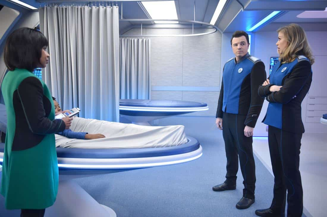 "THE ORVILLE:  L-R:  Penny Johnson Jerald, guest star Kai Wener, Seth MacFarlane and Adrianne Palicki in the ""Into The Fold"" episode of THE ORVILLE airing Thursday, Nov. 2 (9:01-10:00 PM ET/PT) on FOX. ©2017 Fox Broadcasting Co.  Cr:  Michael Becker/FOX"