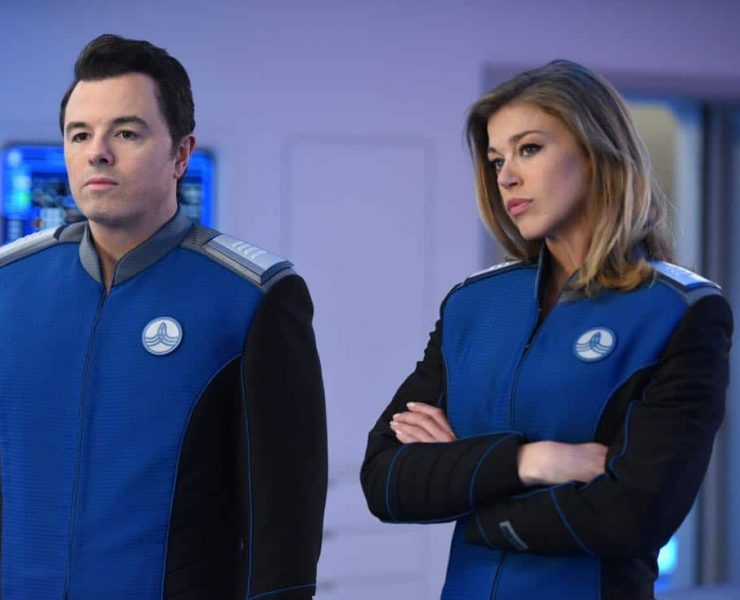 "THE ORVILLE: L-R: Seth McFarland and Adrianne Palicki in the ""Into The Fold"" episode of THE ORVILLE airing Thursday, Nov. 2 (9:01-10:00 PM ET/PT) on FOX. ©2017 Fox Broadcasting Co. Cr: Michael Becker/FOX"