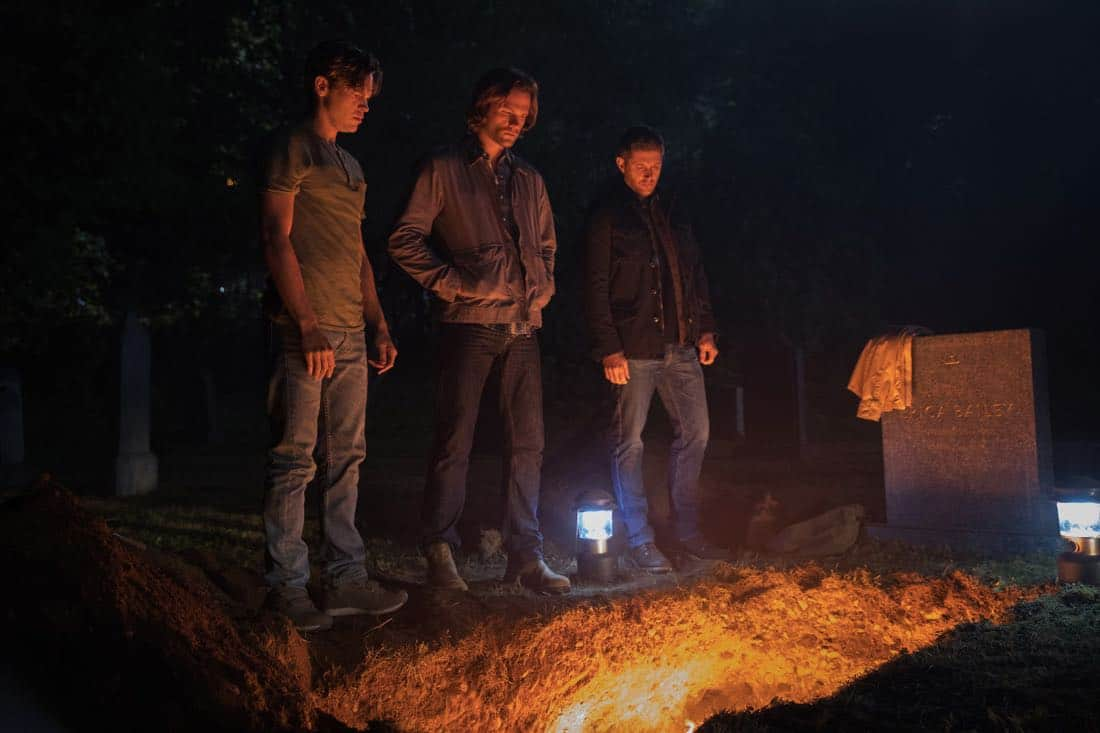 """Supernatural -- """"The Big Empty"""" -- Image Number: SN1304a_0230ra.jpg -- Pictured (L-R): Alexander Calvert as Jack, Jared Padalecki as Sam and Jensen Ackles as Dean -- Photo: Jack Rowand/The CW -- © 2017 The CW Network, LLC All Rights Reserved."""