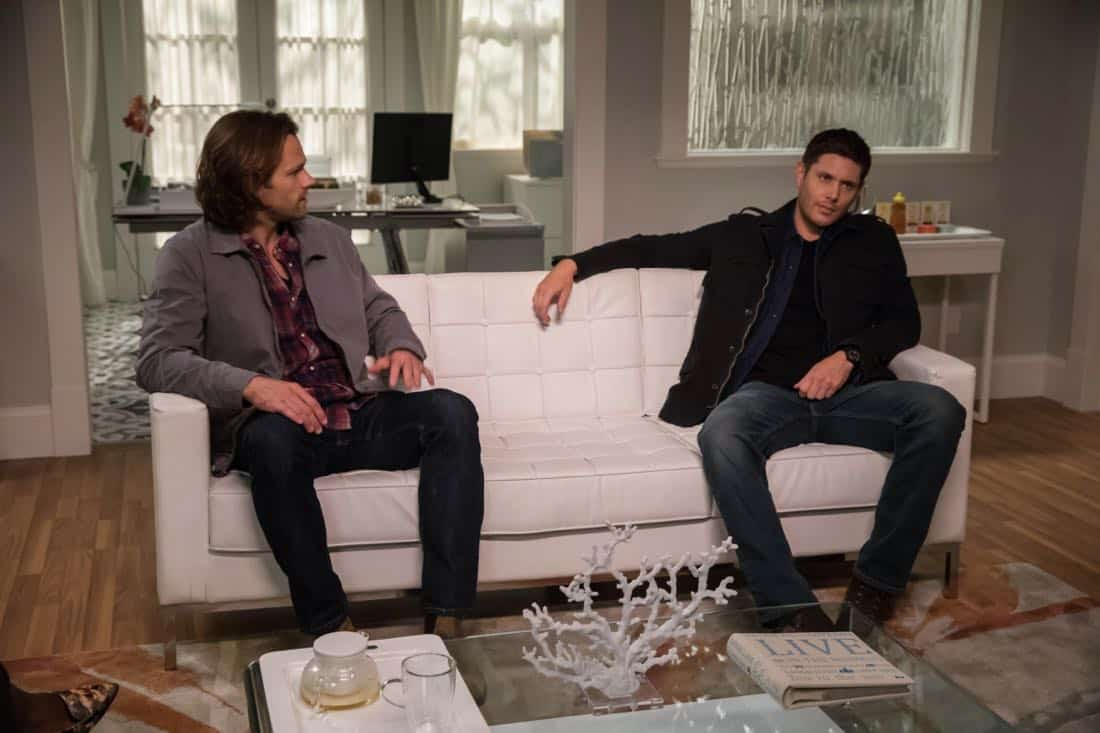 """Supernatural -- """"The Big Empty"""" -- Image Number: SN1304b_0011b.jpg -- Pictured (L-R): Jared Padalecki as Sam and Jensen Ackles as Dean -- Photo: Jack Rowand/The CW -- © 2017 The CW Network, LLC All Rights Reserved."""