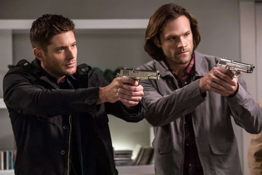 """Supernatural -- """"The Big Empty"""" -- Image Number: SN1304b_0287b.jpg -- Pictured (L-R): Jensen Ackles as Dean and Jared Padalecki as Sam -- Photo: Jack Rowand/The CW -- © 2017 The CW Network, LLC All Rights Reserved."""