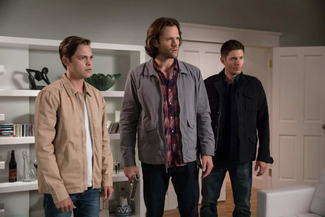 """Supernatural -- """"The Big Empty"""" -- Image Number: SN1304b_0462b.jpg -- Pictured (L-R): Alexander Calvert as Jack, Jared Padalecki as Sam and Jensen Ackles as Dean -- Photo: Jack Rowand/The CW -- © 2017 The CW Network, LLC All Rights Reserved."""