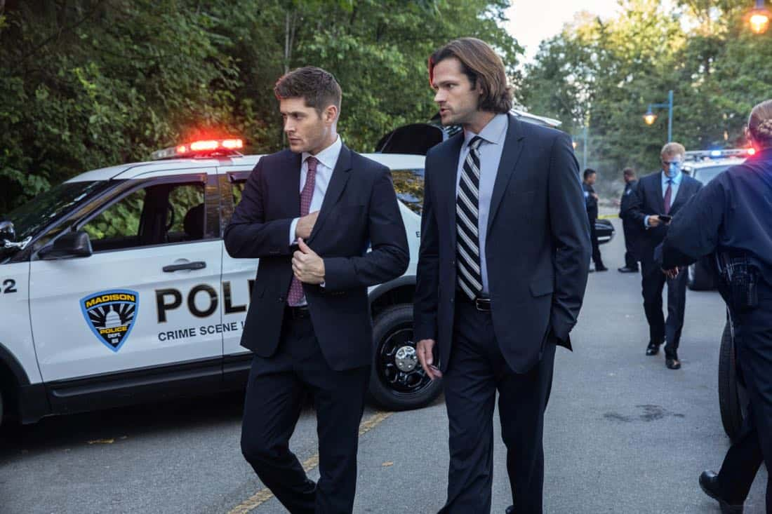 """Supernatural -- """"The Big Empty"""" -- Image Number: SN1304a_0057b.jpg -- Pictured (L-R): Jensen Ackles as Dean and Jared Padalecki as Sam -- Photo: Jack Rowand/The CW -- © 2017 The CW Network, LLC All Rights Reserved."""
