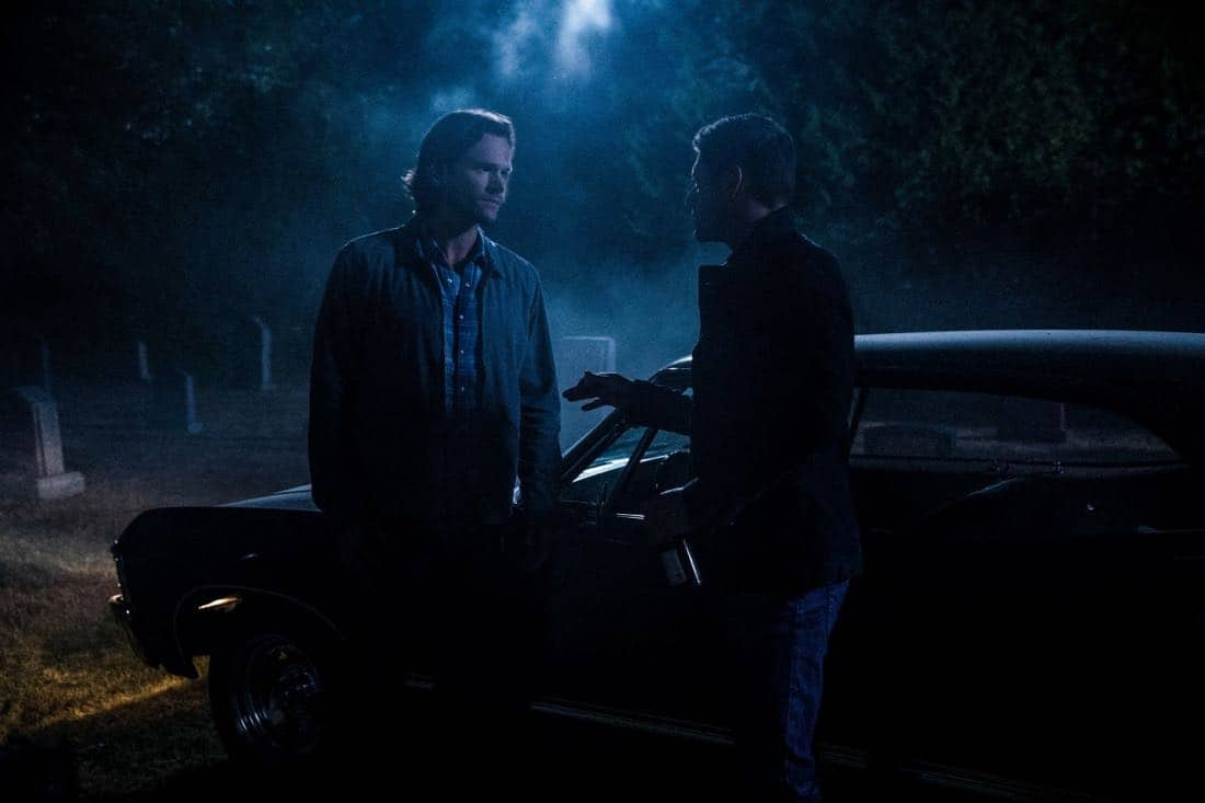 """Supernatural -- """"The Big Empty"""" -- Image Number: SN1304a_0128b.jpg -- Pictured (L-R): Jared Padalecki as Sam and Jensen Ackles as Dean -- Photo: Jack Rowand/The CW -- © 2017 The CW Network, LLC All Rights Reserved."""