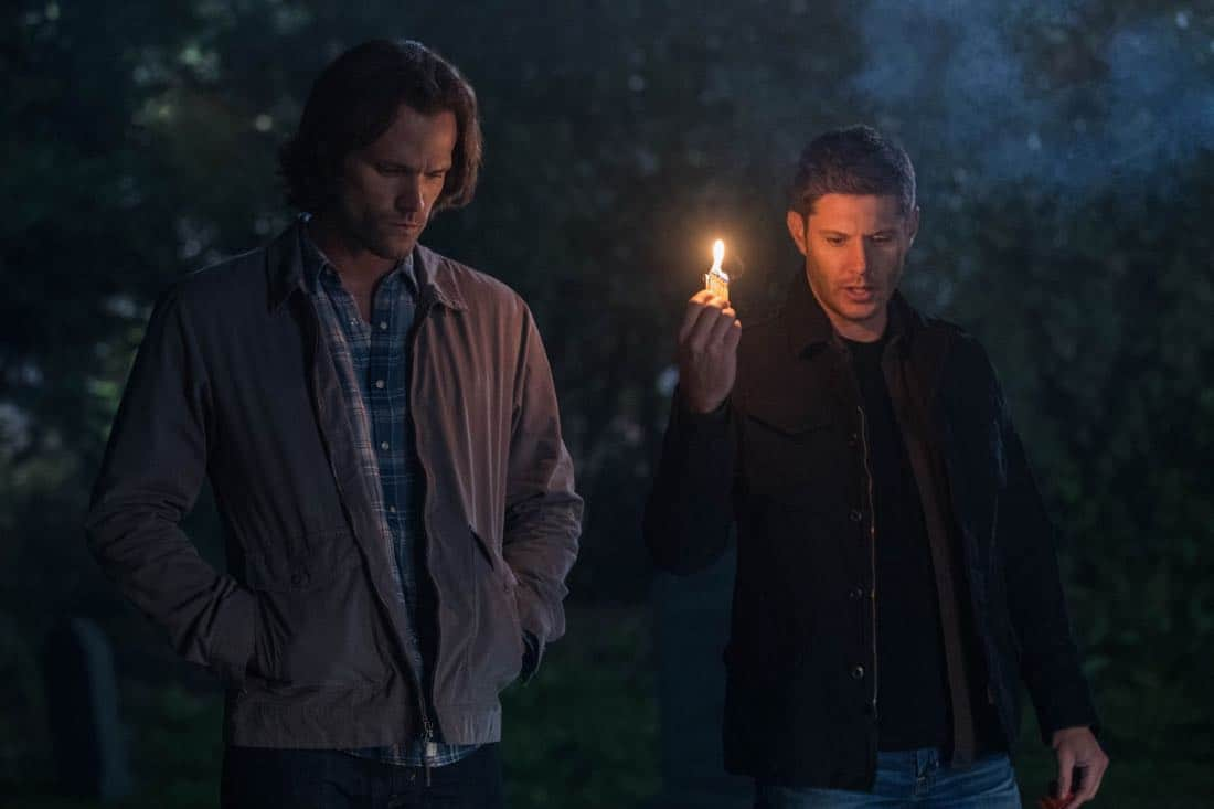 """Supernatural -- """"The Big Empty"""" -- Image Number: SN1304a_0280bb.jpg -- Pictured (L-R): Jared Padalecki as Sam and Jensen Ackles as Dean -- Photo: Jack Rowand//The CW -- © 2017 The CW Network, LLC All Rights Reserved."""