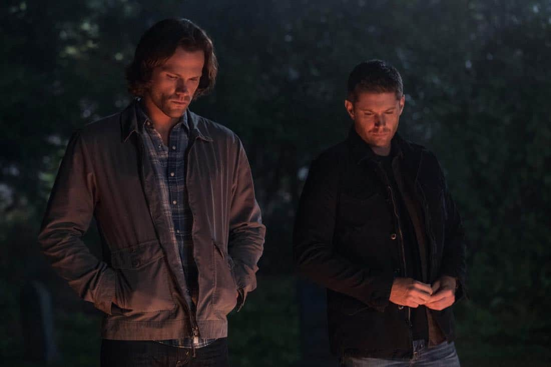 """Supernatural -- """"The Big Empty"""" -- Image Number: SN1304a_0283bb.jpg -- Pictured (L-R): Jared Padalecki as Sam and Jensen Ackles as Dean -- Photo: Jack Rowand//The CW -- © 2017 The CW Network, LLC All Rights Reserved."""
