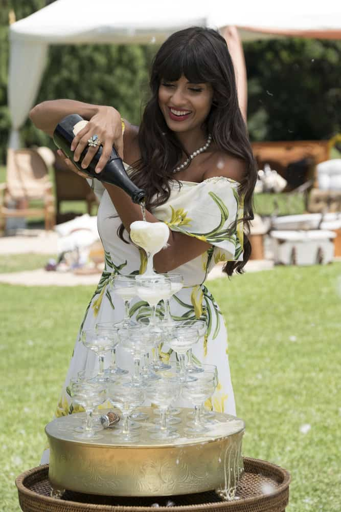 "THE GOOD PLACE -- ""Derek"" Episode 208 -- Pictured: Jameela Jamil as Tehani -- (Photo by: Colleen Hayes/NBC)"