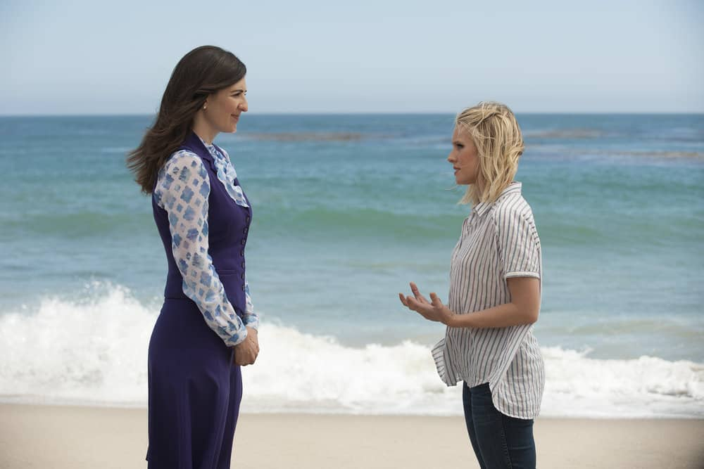 "THE GOOD PLACE -- ""Derek"" Episode 208 -- Pictured: (l-r) D'Arcy Carden as Janet, Kristen Bell as Eleanor -- (Photo by: Colleen Hayes/NBC)"