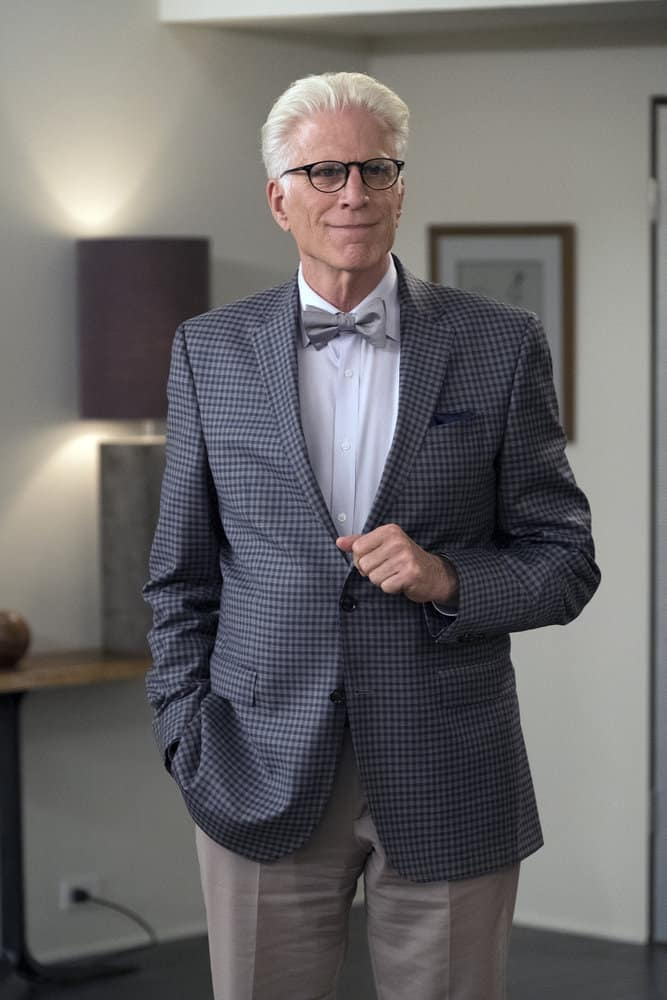 "THE GOOD PLACE -- ""Derek"" Episode 208 -- Pictured: Ted Danson as Michael -- (Photo by: Colleen Hayes/NBC)"
