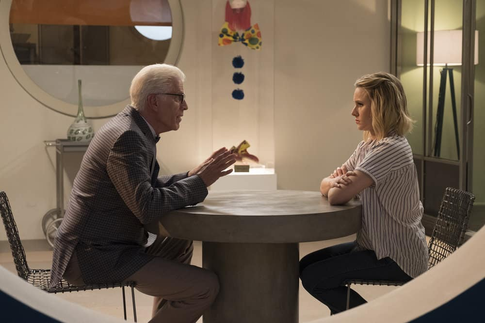"THE GOOD PLACE -- ""Derek"" Episode 208 -- Pictured: (l-r) Ted Danson as Michael, Kristen Bell as Eleanor -- (Photo by: Colleen Hayes/NBC)"