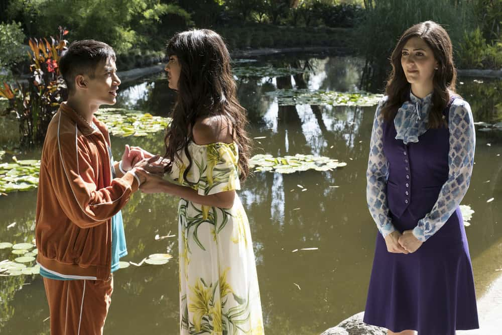 "THE GOOD PLACE -- ""Derek"" Episode 208 -- Pictured: (l-r) Manny Jacinto as Jianyu, Jameela Jamil as Tehani, D'Arcy Carden as Janet -- (Photo by: Colleen Hayes/NBC)"