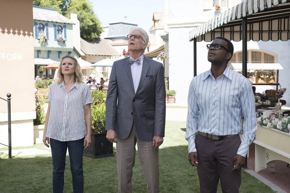 "THE GOOD PLACE -- ""Derek"" Episode 208 -- Pictured: (l-r) Kristen Bell as Eleanor, Ted Danson as Michael, William Jackson Harper as Chidi -- (Photo by: Colleen Hayes/NBC)"