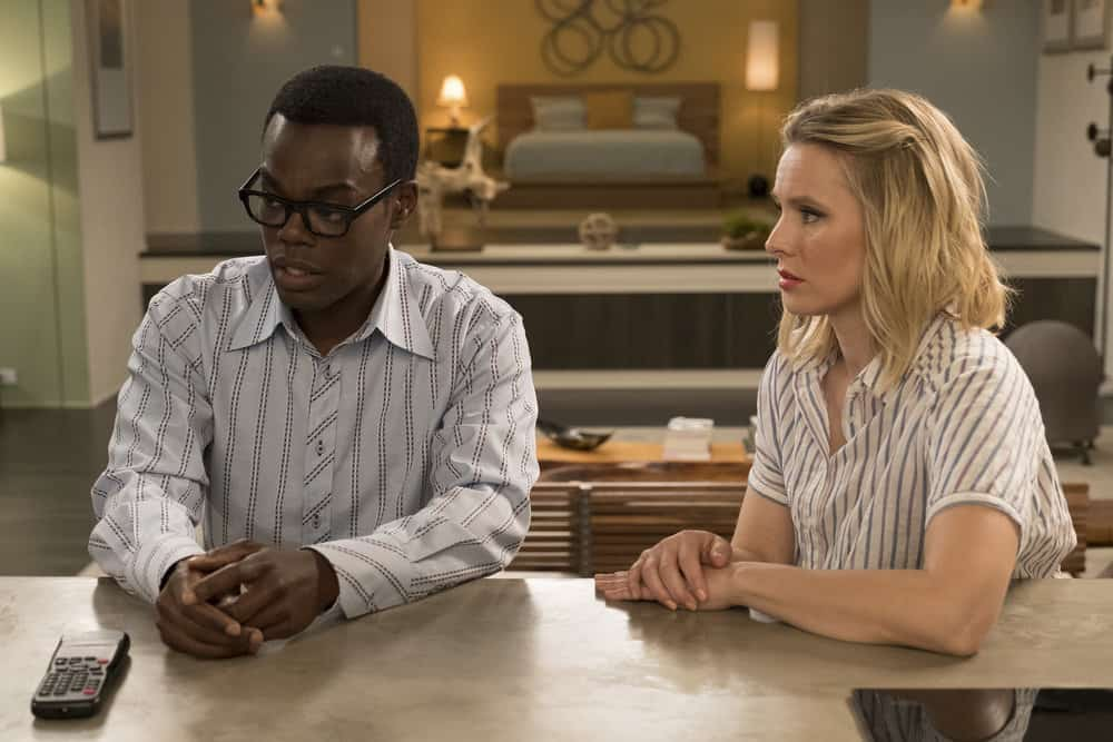 "THE GOOD PLACE -- ""Derek"" Episode 208 -- Pictured: (l-r) William Jackson Harper as Chidi, Kristen Bell as Eleanor -- (Photo by: Colleen Hayes/NBC)"