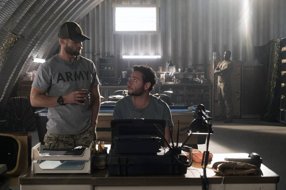 "THE BRAVE -- ""It's All Personal"" Episode 107 -- Pictured: (l-r) Mike Vogel as Captain Adam Dalton, Hadi Tabbal as Agent Amir Al-Raisani -- (Photo by: Lewis Jacobs/NBC)"