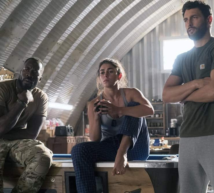"THE BRAVE -- ""It's All Personal"" Episode 107 -- Pictured: (l-r) Demetrius Grosse as CPO Ezekiel ""Preach"" Carter, Natacha Karam as Sergeant Jasmine ""Jaz"" Khan, Noah Mills as Sergeant Joseph ""McG"" McGuire -- (Photo by: Lewis Jacobs/NBC)"