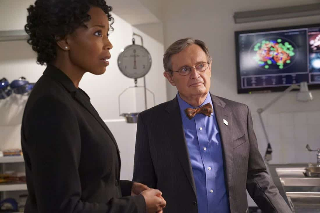 """Burden of Proof"" – After a convicted felon swears the NCIS agency framed him for murder a decade ago, Gibbs begins his own investigation, starting with a new autopsy by Ducky. Also, Senior FBI Agent Fornell (Joe Spano) joins the team, since he was the lead investigator in the original joint FBI and NCIS case, on NCIS, Tuesday, Nov. 7 (8:00-9:00 PM, ET/PT) on the CBS Television Network. Pictured: Hilary Ward, David McCallum.  Photo: Bill Inoshita/CBS ©2017 CBS Broadcasting, Inc. All Rights Reserved"