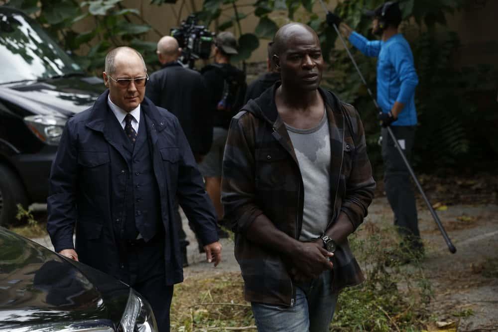 "THE BLACKLIST -- ""The Kilgannon Corp. (#48)"" Episode 507 -- Pictured: (l-r) James Spader as Raymond ""Red"" Reddington, Hisham Tawfiq as Dembe Zuma -- (Photo by: Will Hart/NBC)"