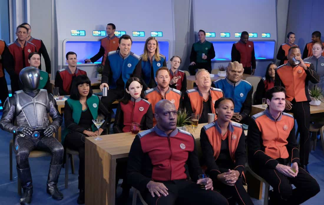 "THE ORVILLE:  L-R:  Mark Jackson, Penny Johnson Jerald, Seth MacFarlane, Halston Sage, Adrianne Palicki, Scott Grimes, guest star Larry Joe Campbell, Peter Macon and J Lee in the ""Cupid's Dagger"" episode of THE ORVILLE airing Thursday, Nov. 9 (9:01-10:00 PM ET/PT) on FOX.  ©2017 Fox Broadcasting Company.  Cr:  Ray Mickshaw/FOX"