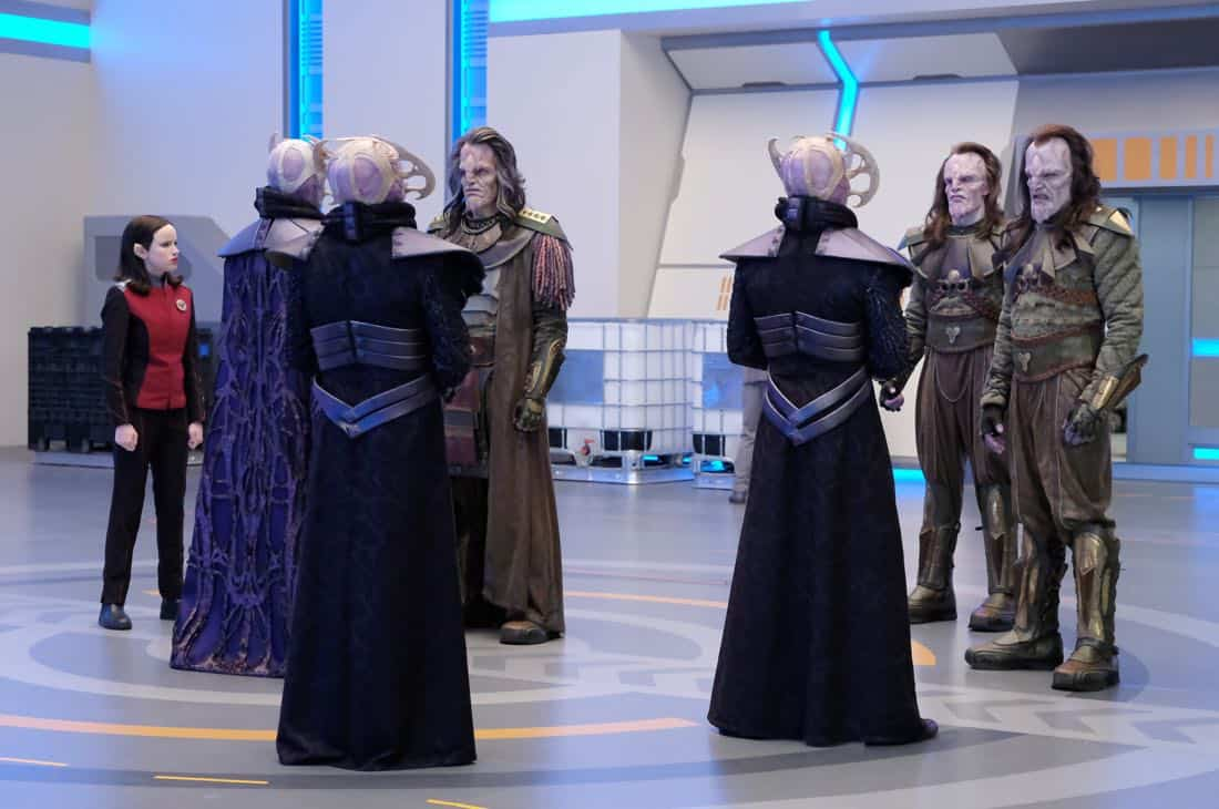 "THE ORVILLE:  L-R:  Halston Sage in the ""Cupid's Dagger"" episode of THE ORVILLE airing Thursday, Nov. 9 (9:01-10:00 PM ET/PT) on FOX.  ©2017 Fox Broadcasting Company.  Cr:  Ray Mickshaw/FOX"