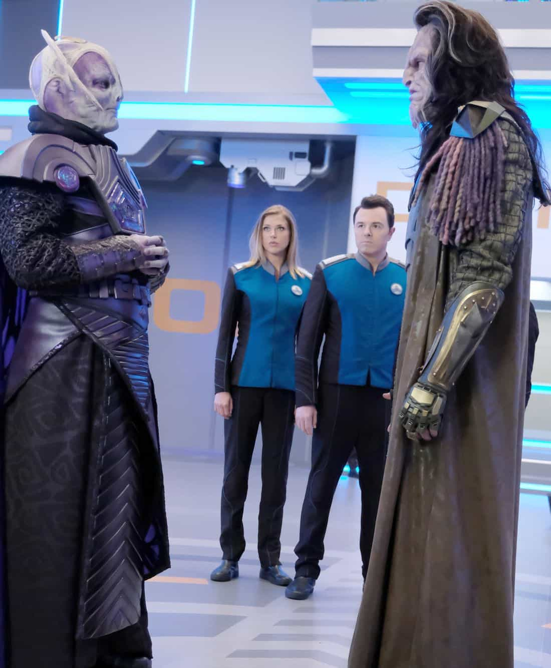 "THE ORVILLE:  L-R:  Guest star Derek Mears, Adrianne Palicki, Seth MacFarlane and guest star J Paul Boehmer in the ""Cupid's Dagger"" episode of THE ORVILLE airing Thursday, Nov. 9 (9:01-10:00 PM ET/PT) on FOX.  ©2017 Fox Broadcasting Company.  Cr:  Ray Mickshaw/FOX"