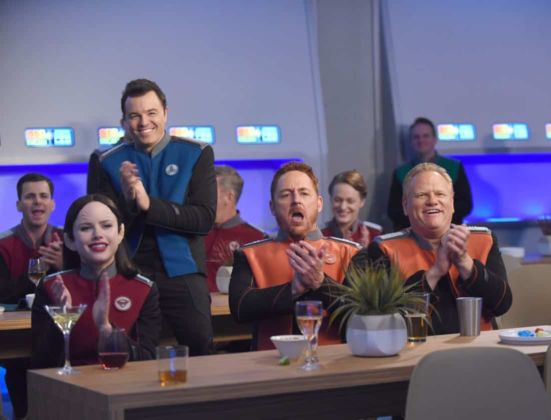 "THE ORVILLE: L-R: Halston Sage, Seth MacFarlane, Scott Grimes and guest star Larry Joe Campbell in the ""Cupid's Dagger"" episode of THE ORVILLE airing Thursday, Nov. 9 (9:01-10:00 PM ET/PT) on FOX. ©2017 Fox Broadcasting Company. Cr: Ray Mickshaw/FOX"
