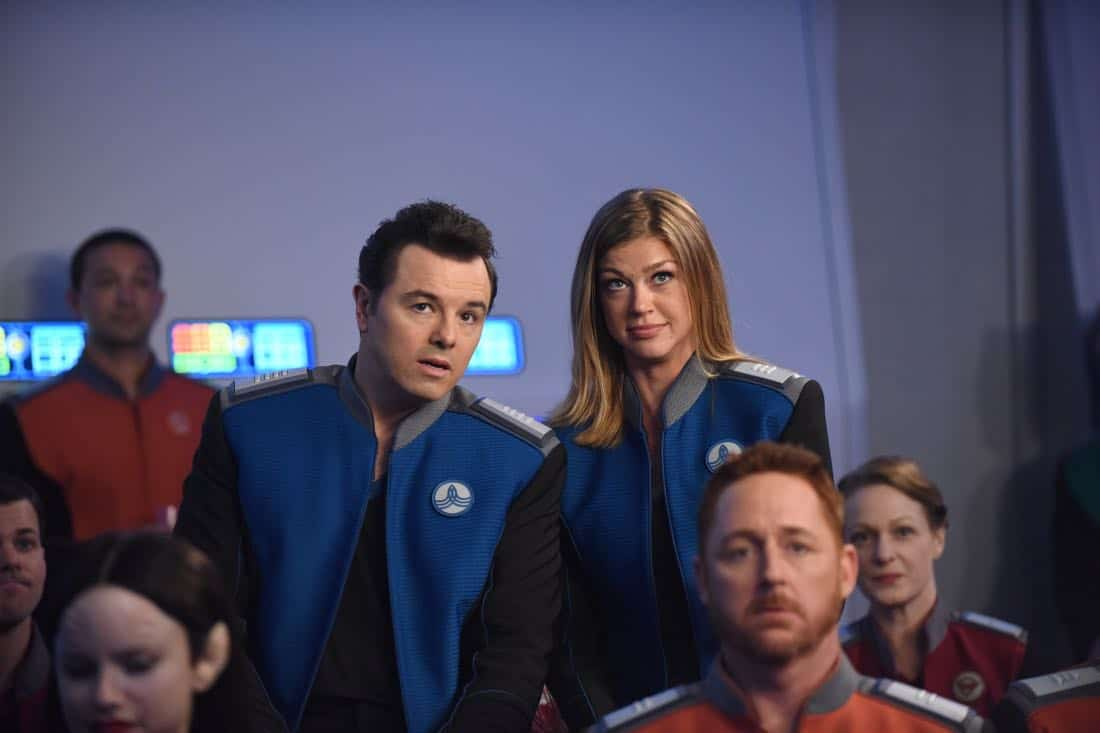 "THE ORVILLE:  L-R:  Seth MacFarlane and Adrianne Palicki in the ""Cupid's Dagger"" episode of THE ORVILLE airing Thursday, Nov. 9 (9:01-10:00 PM ET/PT) on FOX.  ©2017 Fox Broadcasting Company.  Cr:  Ray Mickshaw/FOX"