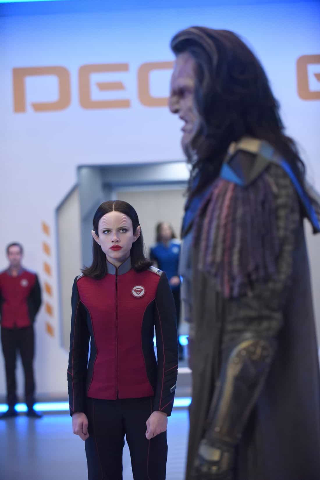 "THE ORVILLE:  L-R:  Halston Sage and guest star J Paul Boehmer in the ""Cupid's Dagger"" episode of THE ORVILLE airing Thursday, Nov. 9 (9:01-10:00 PM ET/PT) on FOX.  ©2017 Fox Broadcasting Company.  Cr:  Ray Mickshaw/FOX"