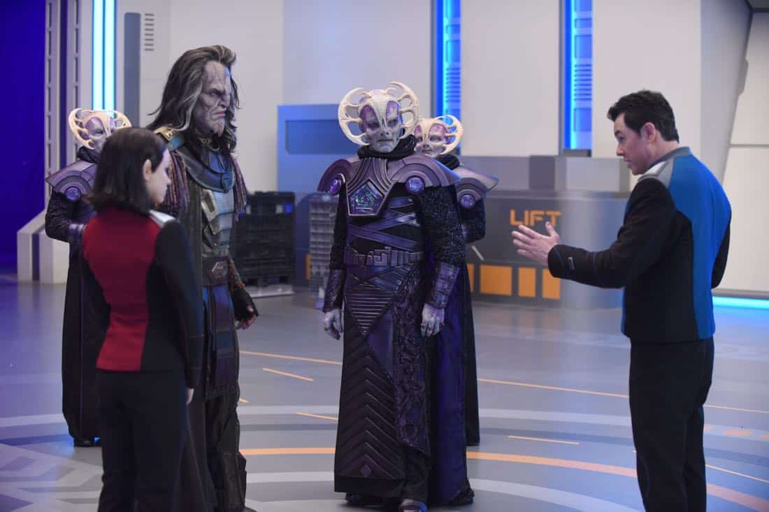 "THE ORVILLE:  L-R:  Halston Sage, guest star J Paul Boehmer, guest star Derek Mears and Seth MacFarlane in the ""Cupid's Dagger"" episode of THE ORVILLE airing Thursday, Nov. 9 (9:01-10:00 PM ET/PT) on FOX.  ©2017 Fox Broadcasting Company.  Cr:  Ray Mickshaw/FOX"
