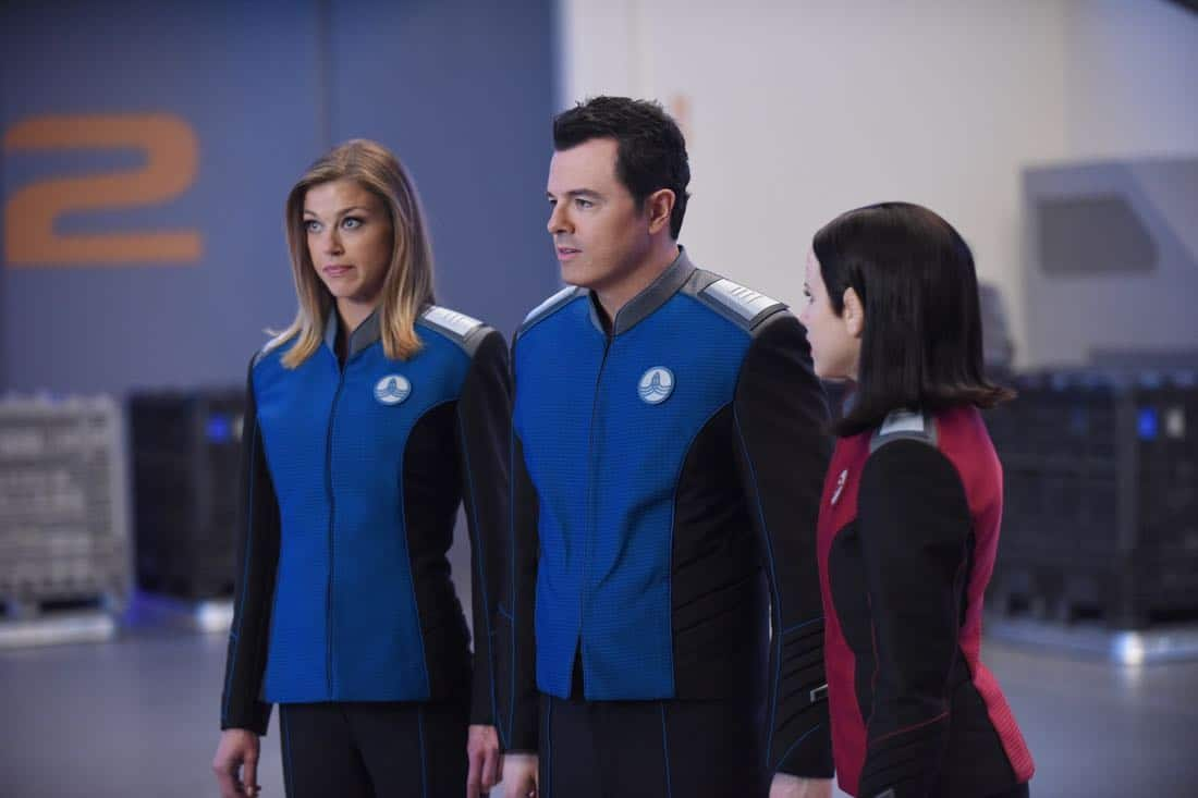 "THE ORVILLE:  L-R:  Adrianne Palicki, Seth MacFarlane and Halston Sage in the ""Cupid's Dagger"" episode of THE ORVILLE airing Thursday, Nov. 9 (9:01-10:00 PM ET/PT) on FOX.  ©2017 Fox Broadcasting Company.  Cr:  Ray Mickshaw/FOX"