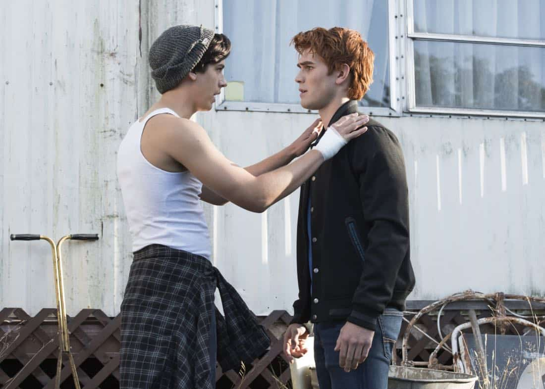 "Riverdale -- ""Chapter Eighteen: When A Stranger Calls"" -- Image Number: RVD205a_0492.jpg -- Pictured (L-R): Cole Sprouse as Jughead Jones and KJ Apa as Archie Andrews -- Photo: Dean Buscher/The CW -- © 2017 The CW Network. All Rights Reserved"